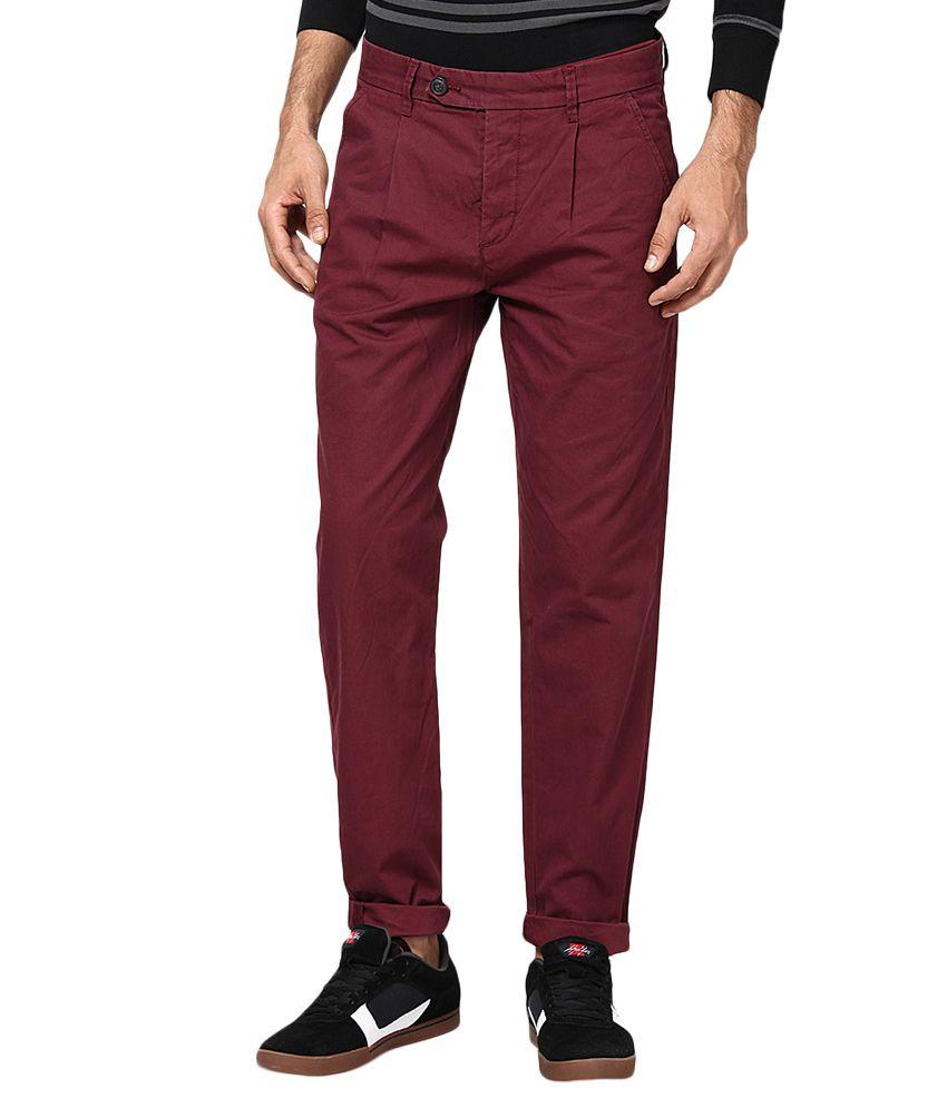 Jack & Jones Maroon Slim Fit Trousers