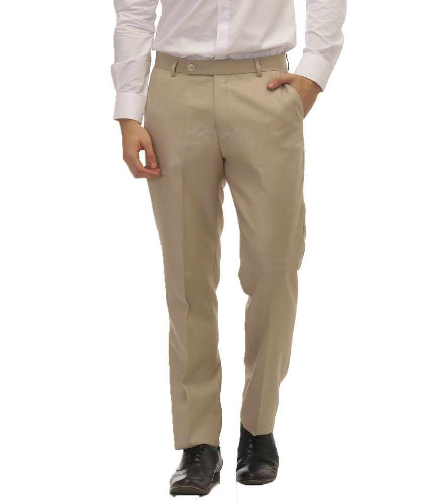 Jogur Beige Regular Fit Flat Trousers