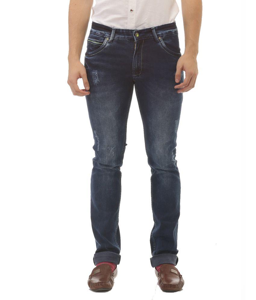Jogur Blue Regular Fit Distressed Jeans
