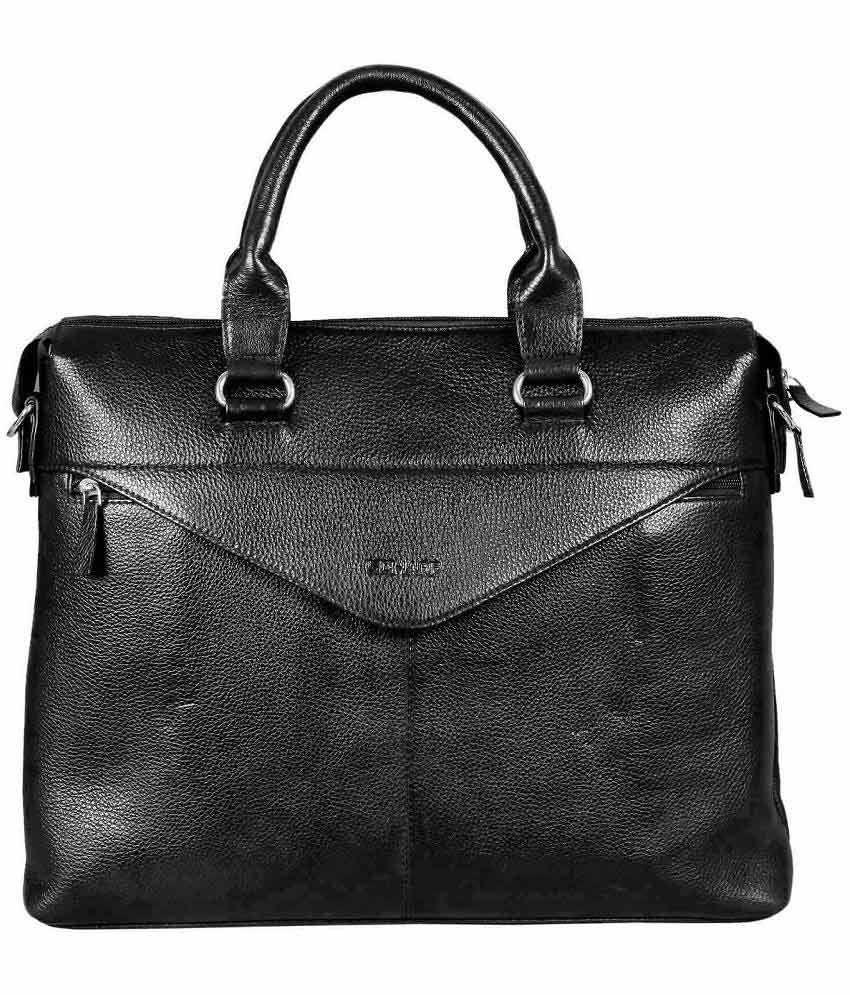 Scharf Black Leather Office Bag