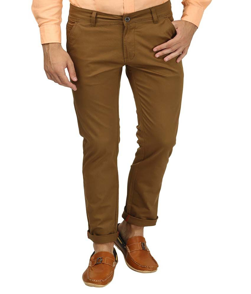 Zavlin Khaki Slim Fit Chinos