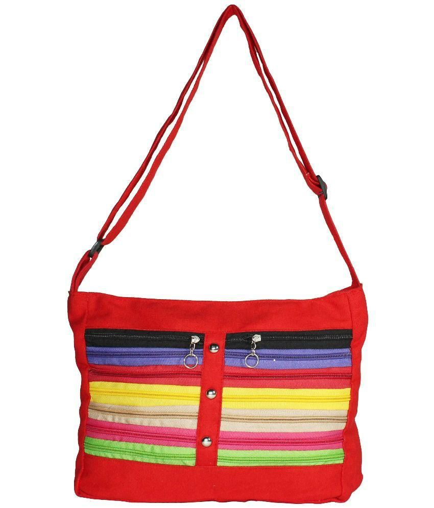 Blis Vogue Red Canvas Sling Bag