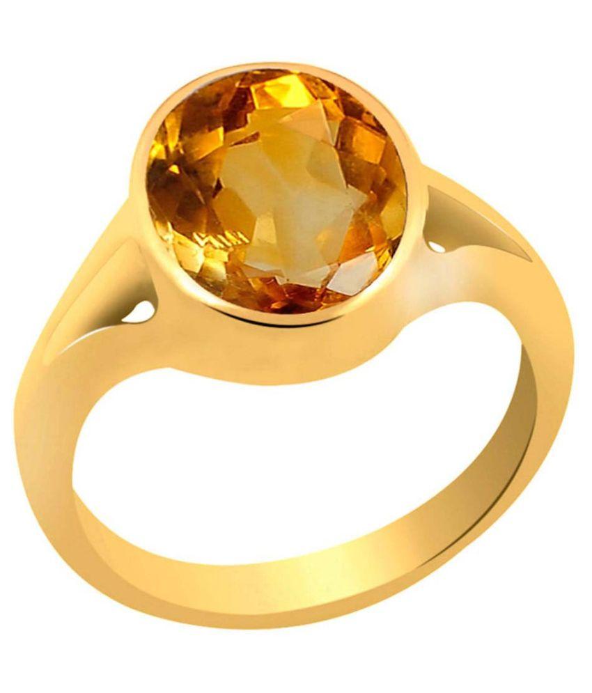 Clara 9.3 carat or 10.25ratti Panchdhatu Gold Plating Citrine Astrological Ring