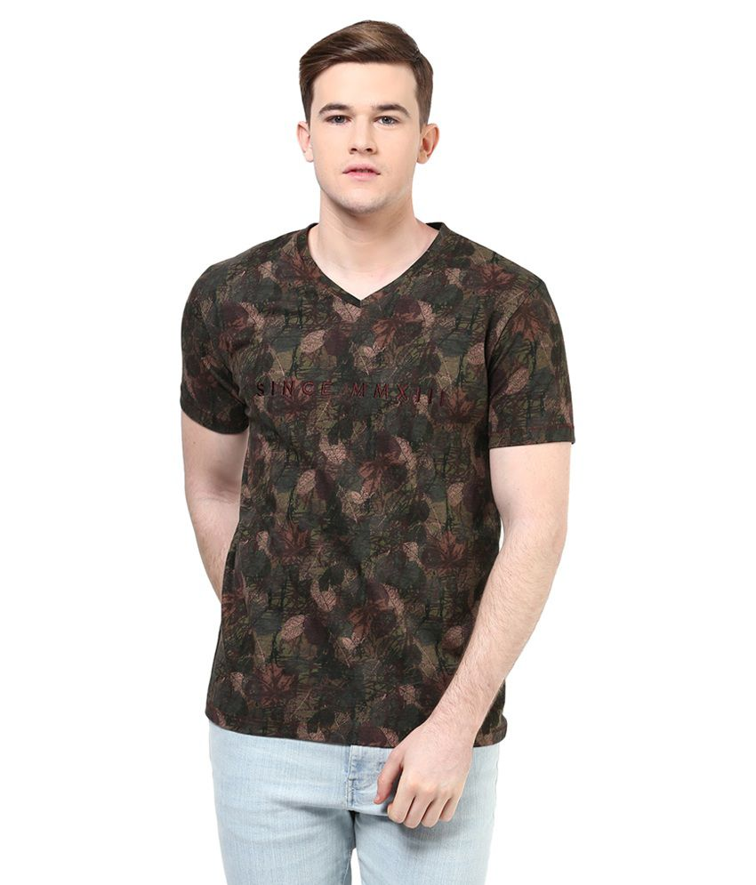 Elaborado Brown V-Neck T Shirt