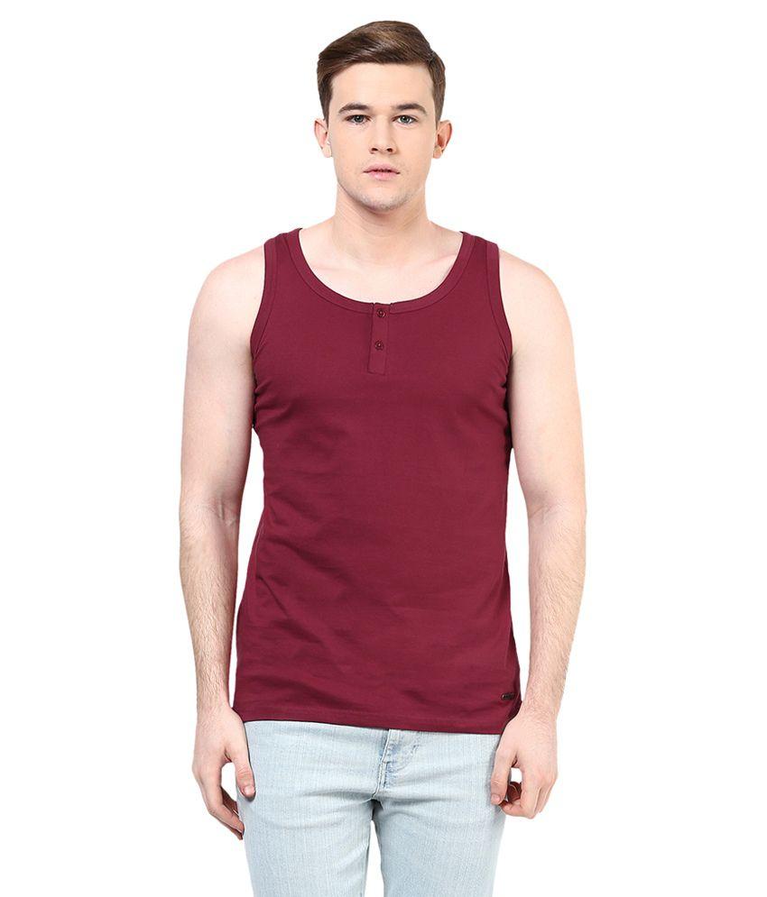 Elaborado Maroon Henley T Shirt