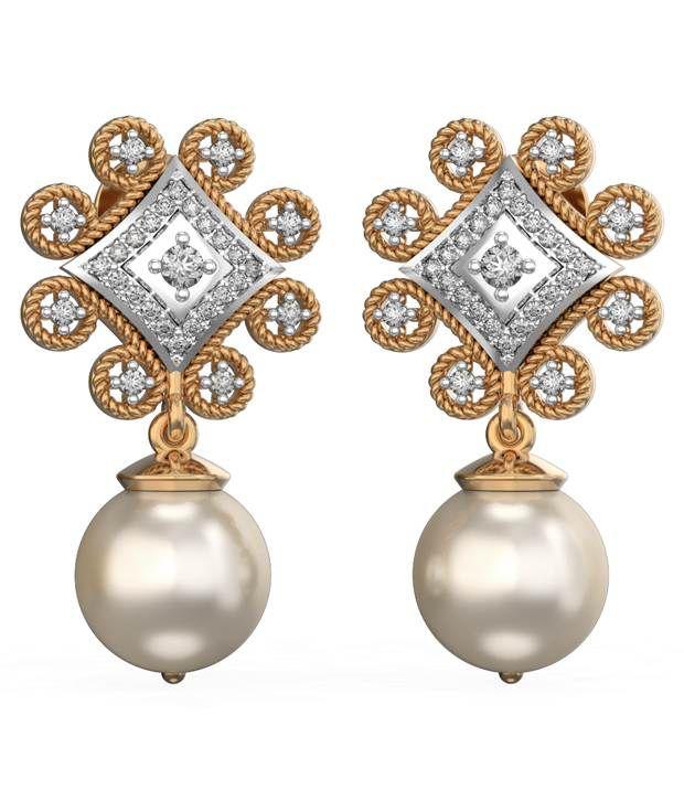 I Love Diamonds 18kt Gold Pearl Drop Earrings