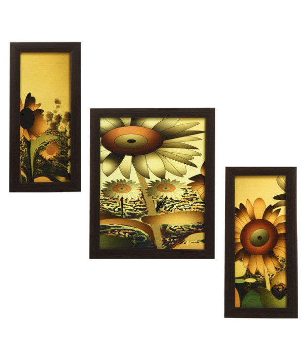 Indianara 3 Piece Set Of Framed Wall Art - Sunflowers In A Bloom