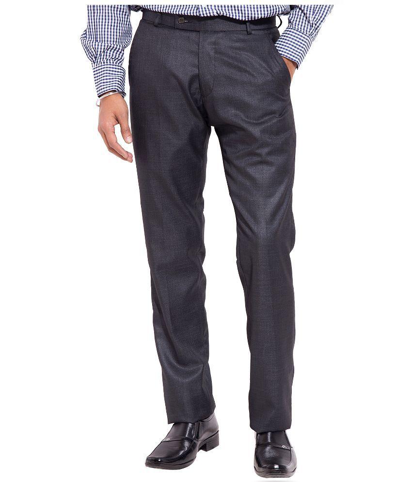 Truso Black Slim Fit Flat Trousers