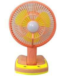 CSM 10 Rechargeable Portable Led Light Fan Table Fan Orange