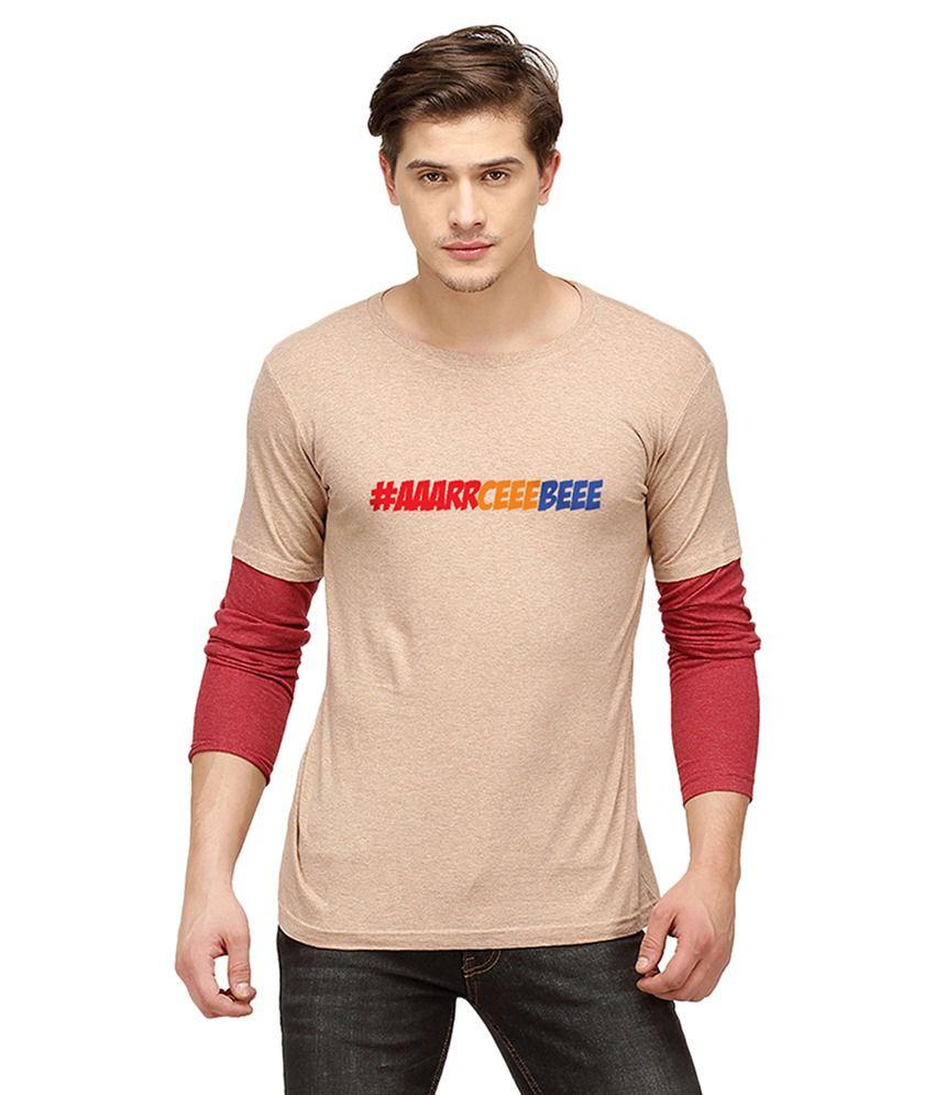 Campus Sutra Brown Round T Shirt