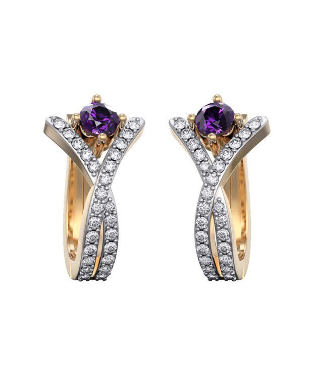 I Love Diamonds 18kt Gold Amethyst Earrings