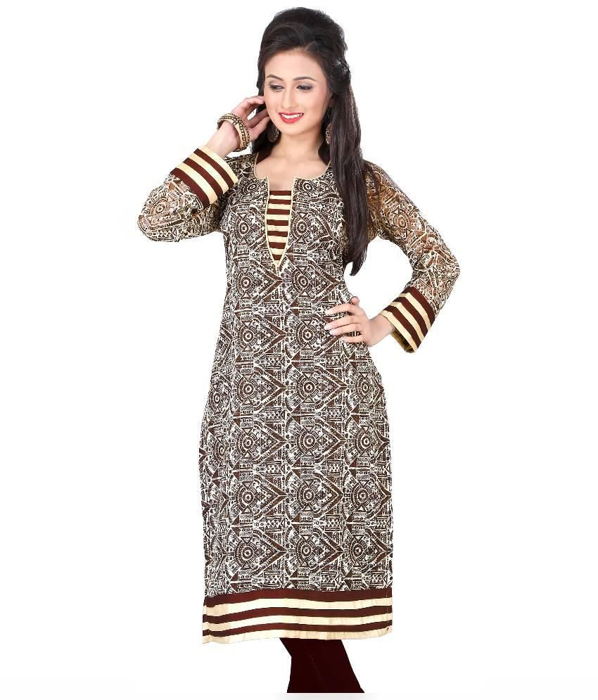 Khushi Fashion Brown Cotton Straight Kurti