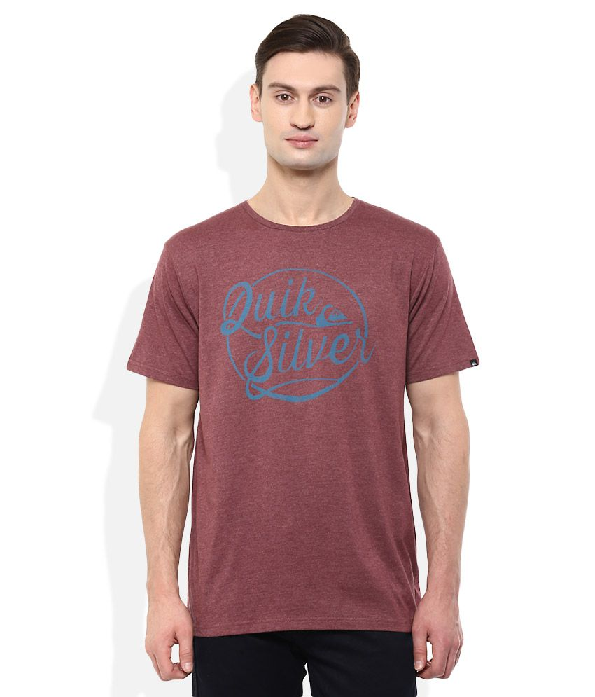 Quiksilver Maroon Printed T-Shirt
