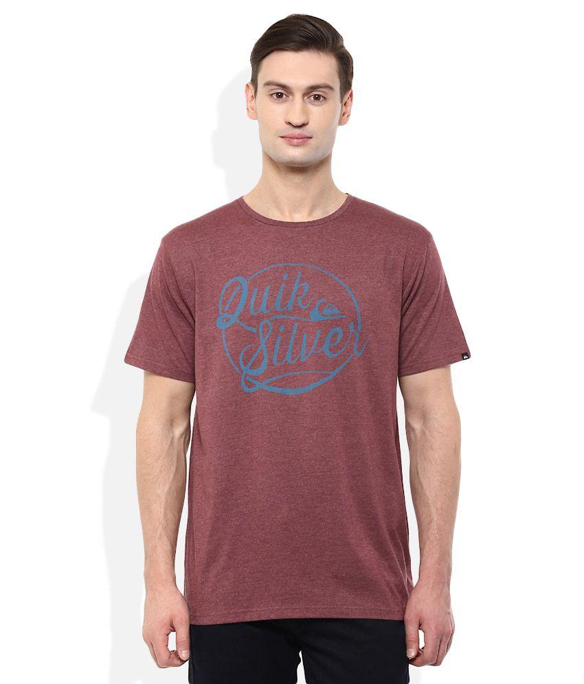 Quiksilver Maroon Printed T-Shirt