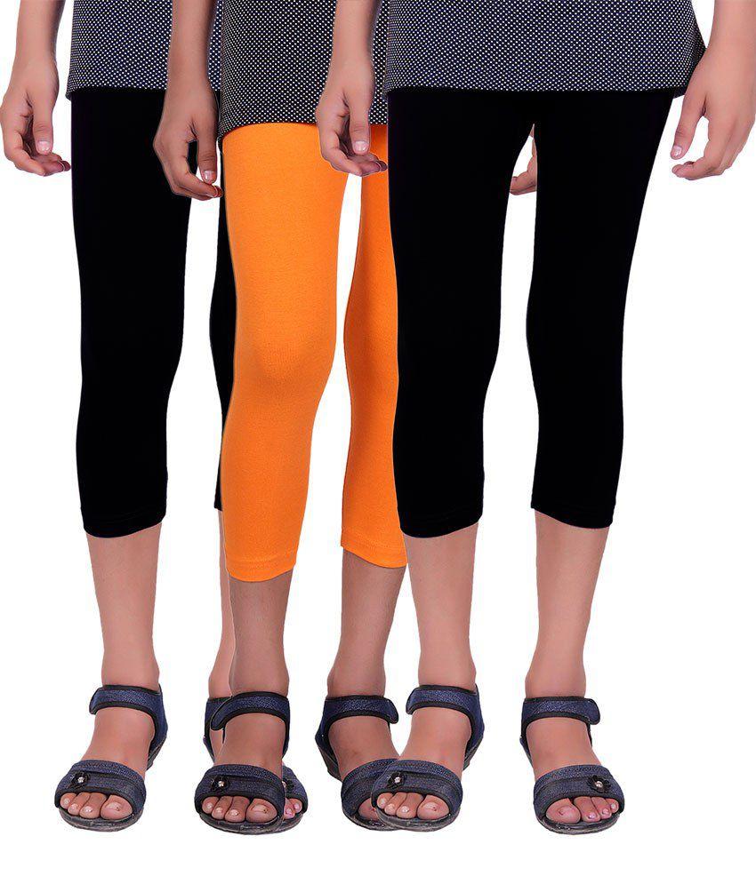 Alisha Black and Orange Cotton Lycra Capris (Pack of 3)