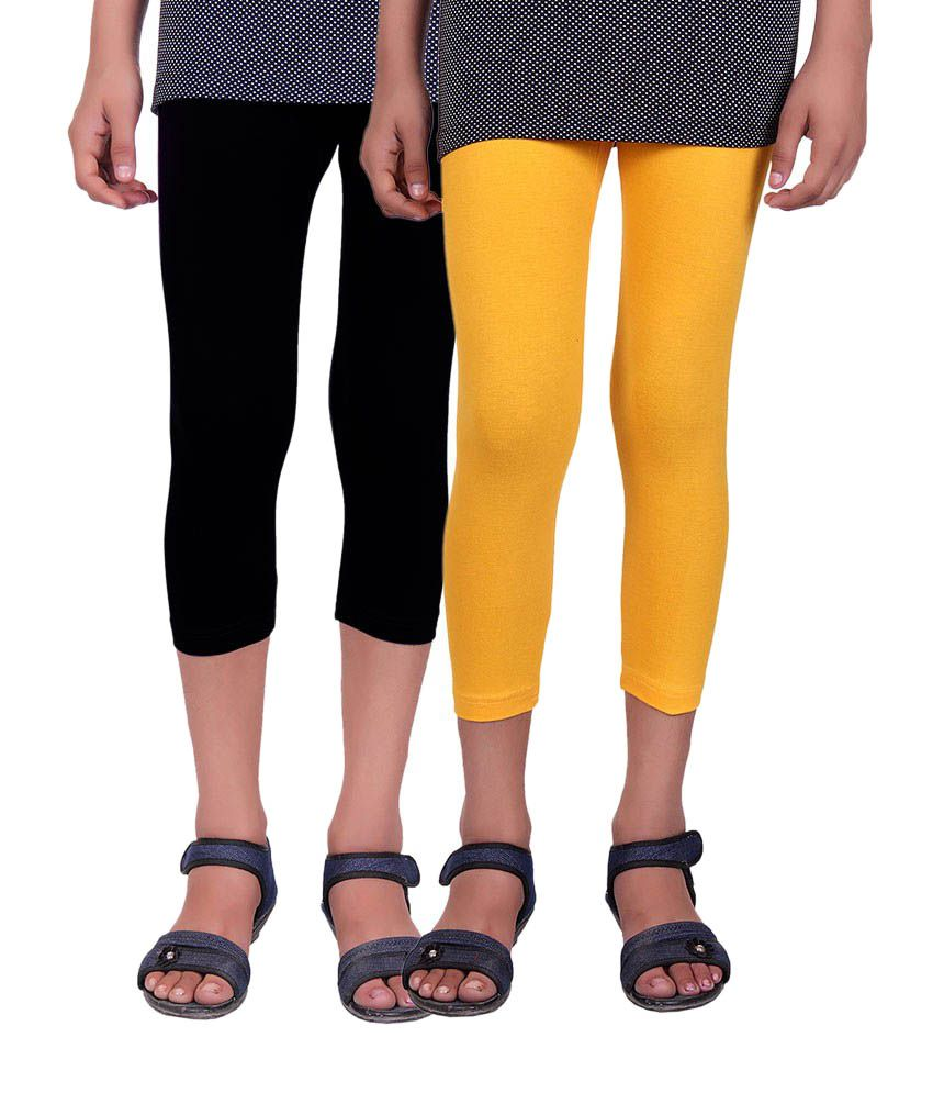 Alisha Black and Yellow Cotton Capris (Pack of 2)