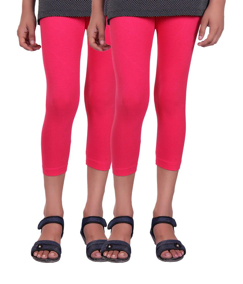 Alisha Pink Cotton Capris (Pack of 2)