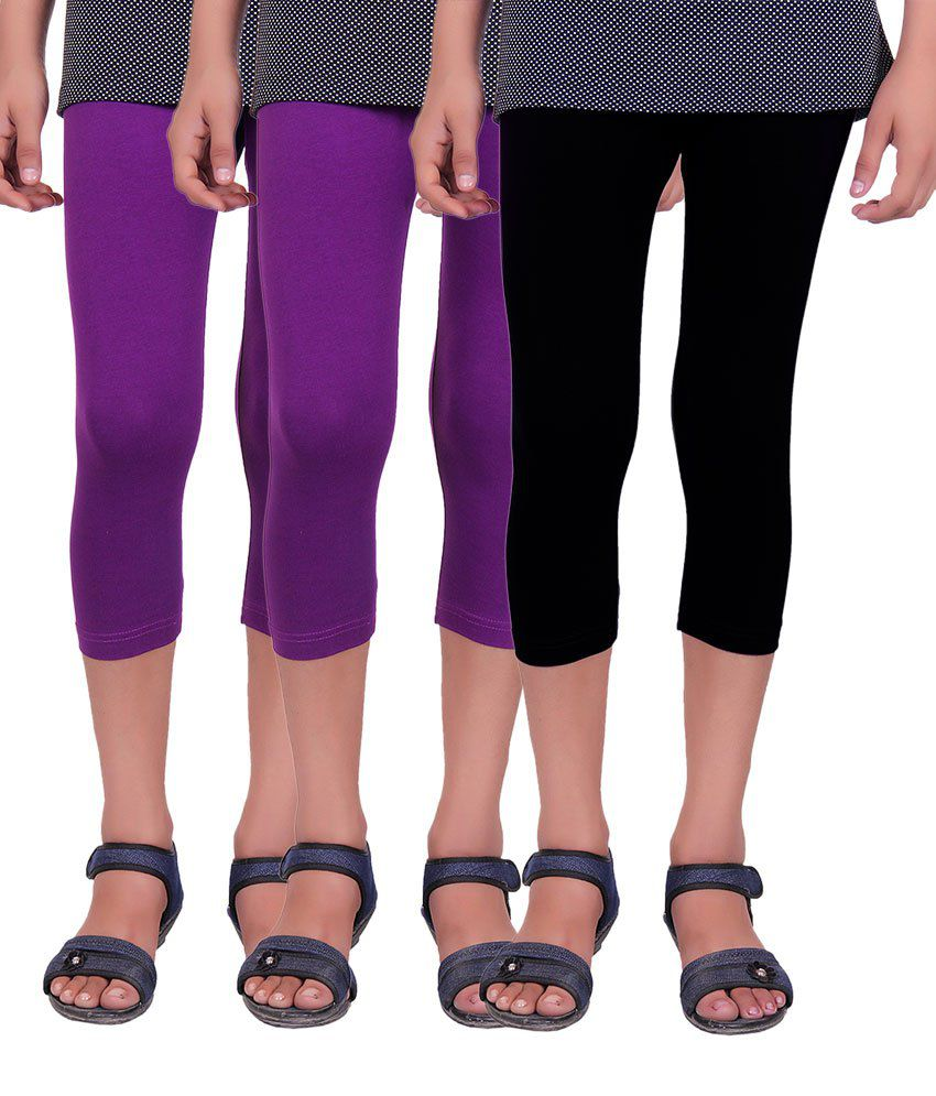 Alisha Purple and Black Cotton Lycra Capris (Pack of 3)