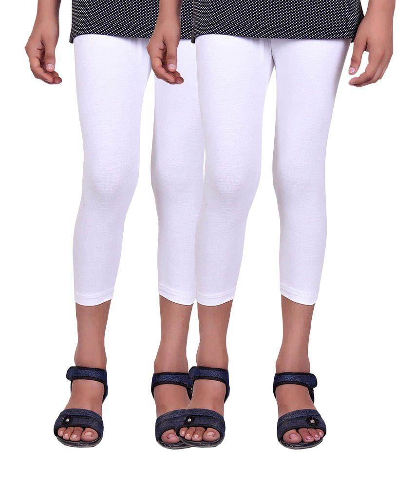 Alisha White Cotton Capris (Pack of 2)