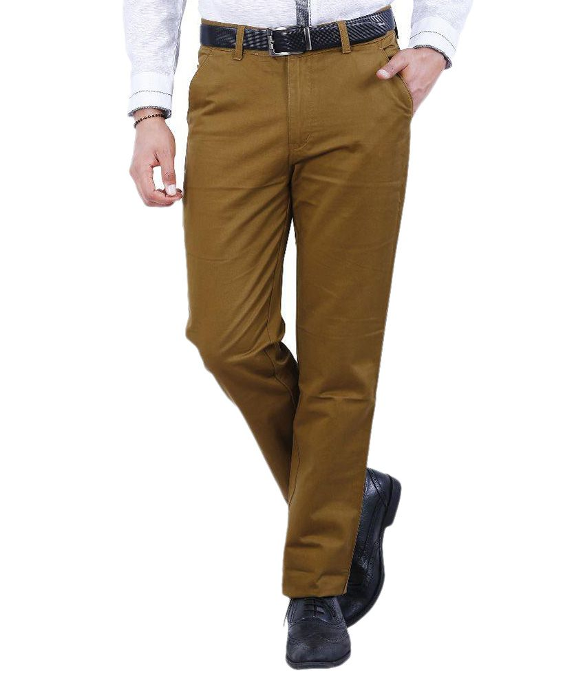 Crocks Club Khaki Regular Fit Flat Trousers