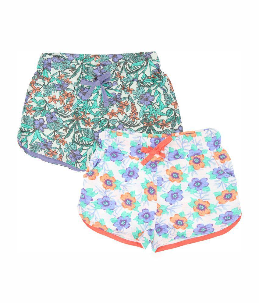 Eimoie Multicolour Cotton Shorts - Pack of 2