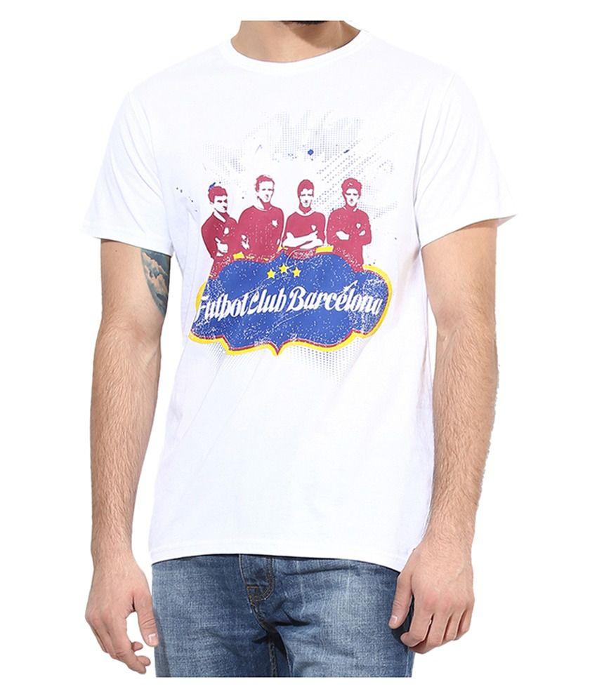 Barcelona T Shirt Mens Round Neck