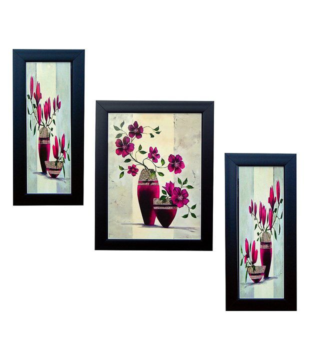 Indianara 3 Piece Set Of Framed Wall Art - Purple Vase With Flowers