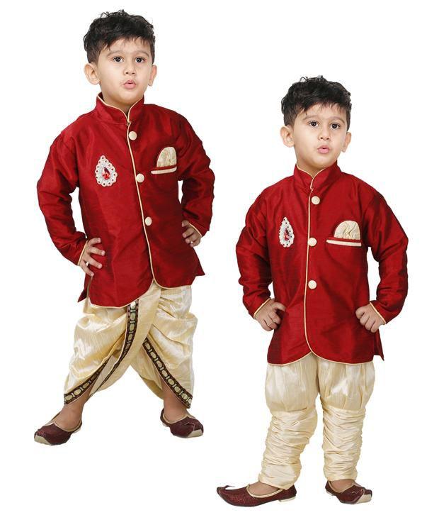 00de0e96 JBN Creation Boys Maroon Indo Western Combo of Kurta , Pyjama & Dhoti ...