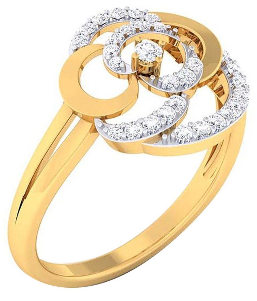 Abhijewels Golden 18kt Gold Contemporary Diamond Ring