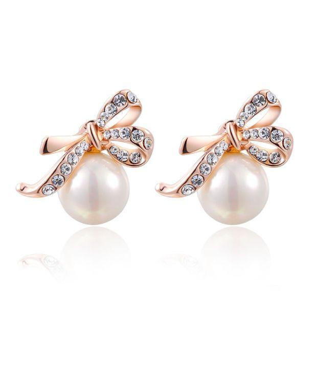 Carina Jewelry White & Golden Alloy Earrings