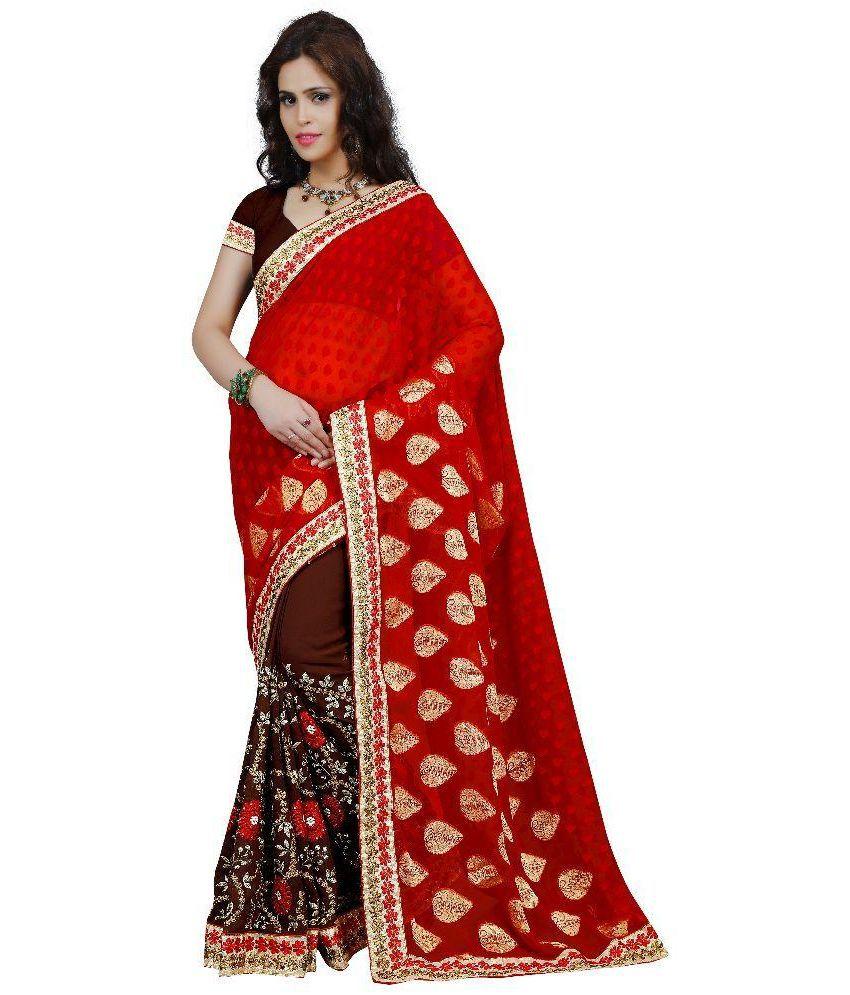 Shree Krishna Fashion Brown Georgette Saree