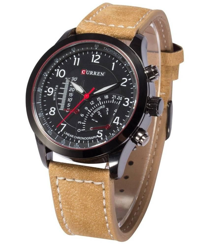 Curren tan leather analog watch buy curren tan leather analog watch online at best prices in for Curren watches