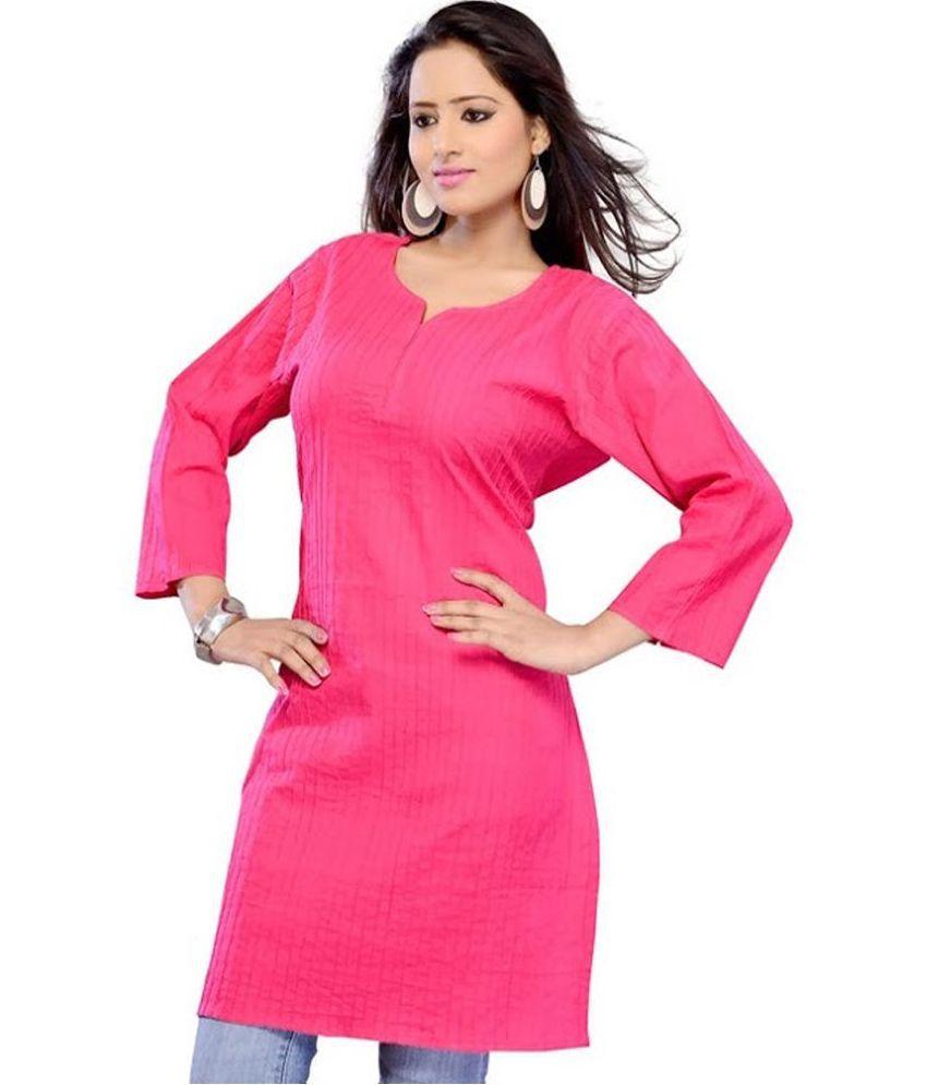 Fabsale Pink Cotton Straight Kurti