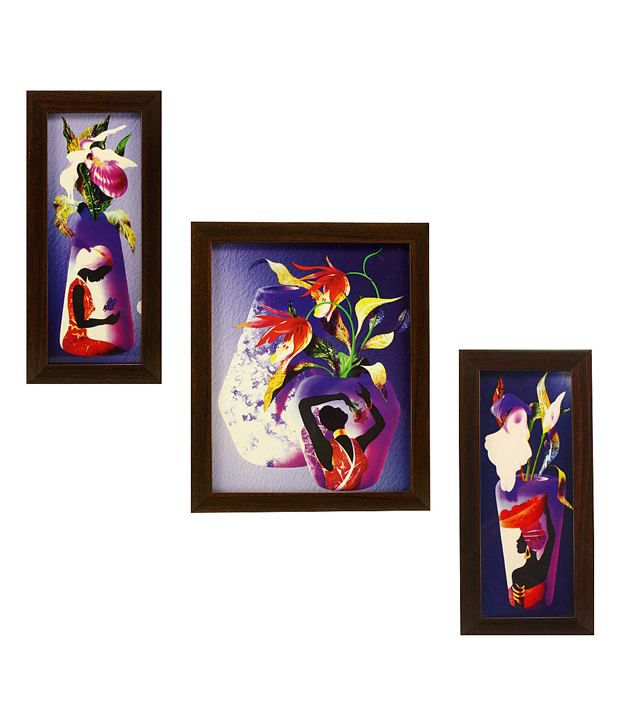 Indianara 3 Piece Set Of Framed Wall Art - Graceful Women In Vases