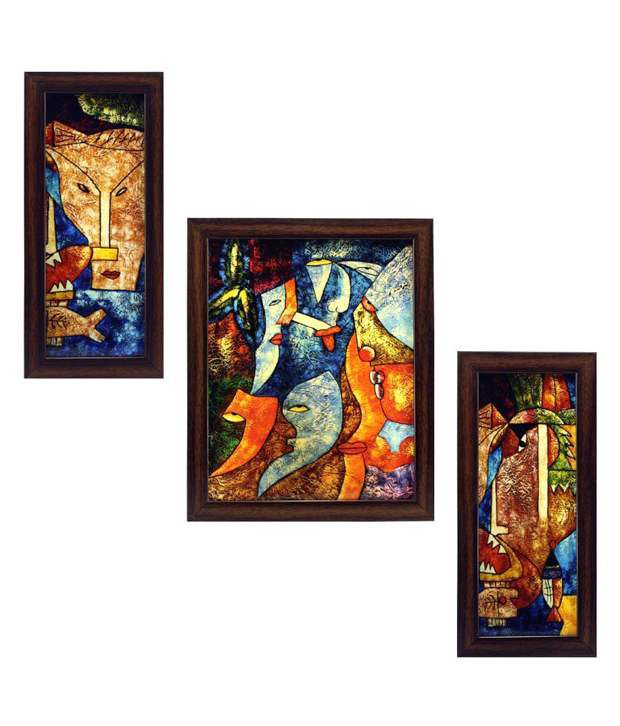 Indianara Expressions Framed Wall Art Set Of 3
