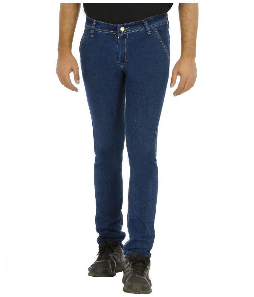 Urbano Fashion Blue Slim Fit Solid Jeans