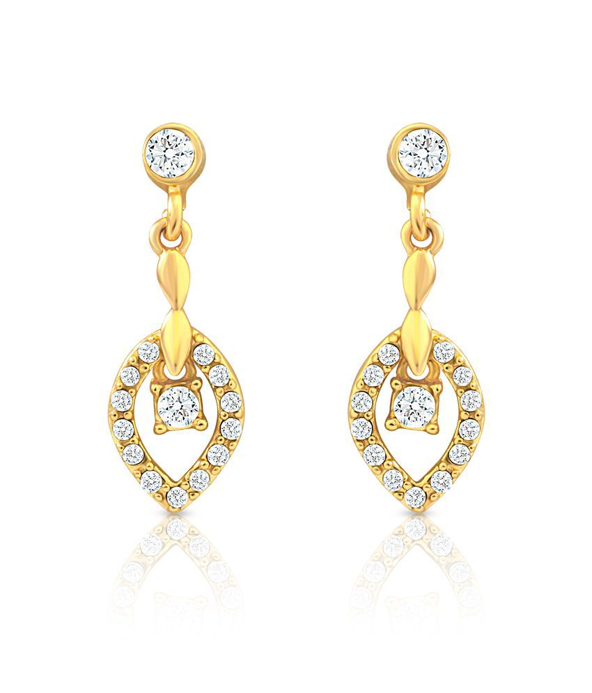 Oviya Golden Hanging Earrings with crystals for women