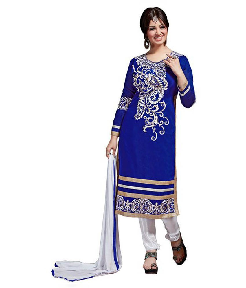 Swaron Blue Chanderi Straight Unstitched Dress Material