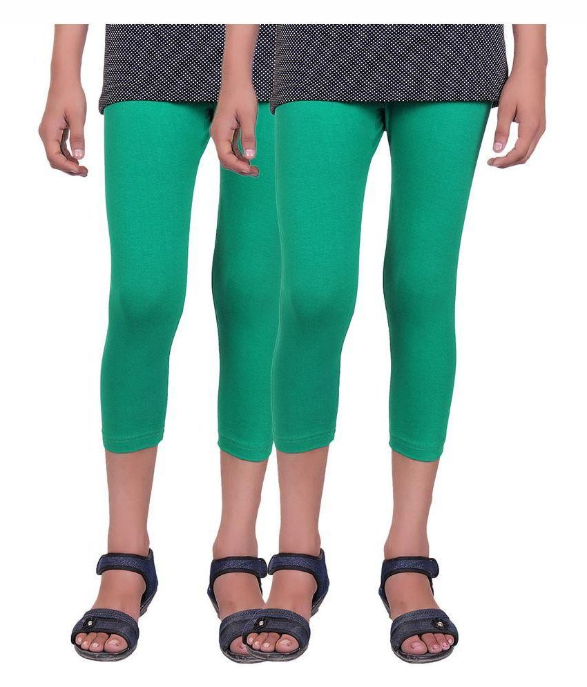 Alisha Green Cotton Lycra Capris for Girls - Pack of 2