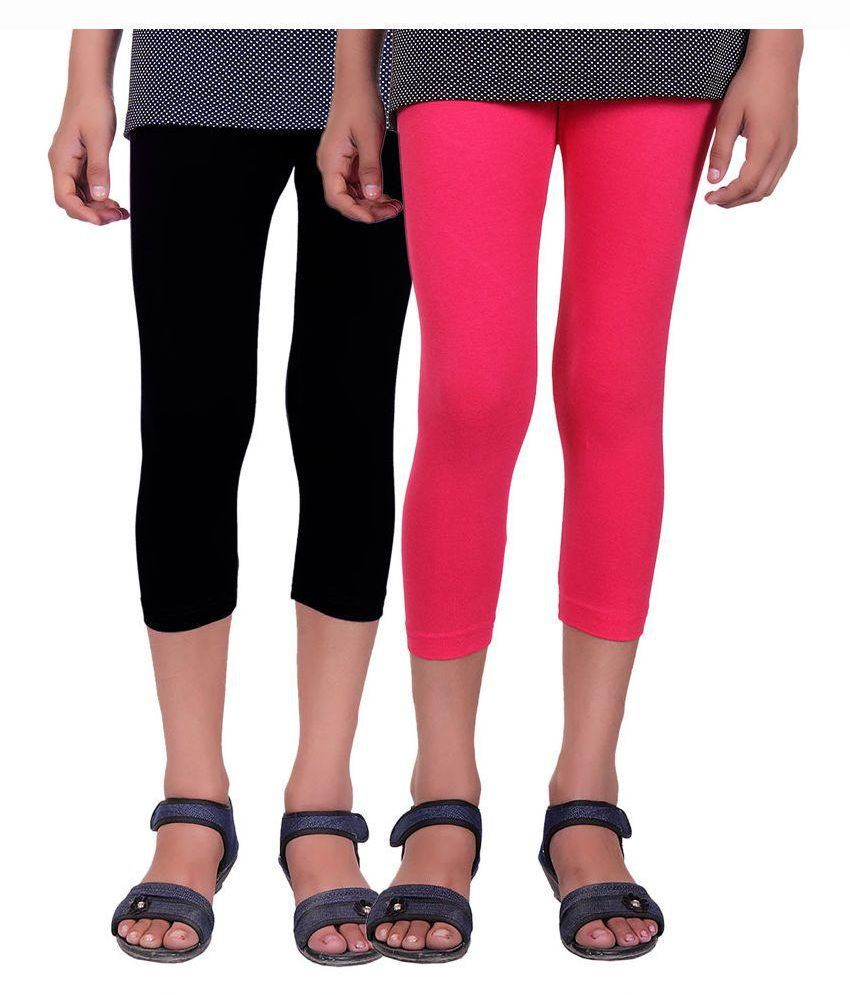 Alisha Multicolour Cotton Lycra Capris for Girls - Pack of 2