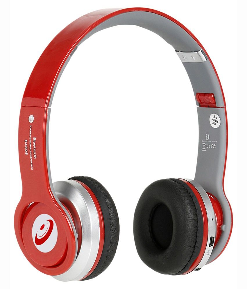 Head Kik S450 Over-The-Head Bluetooth Headphone With Mic - Red