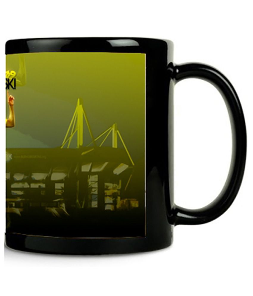 Zanky Black Printed Ceramic Coffee 300 ml Mug (Pack of 1)