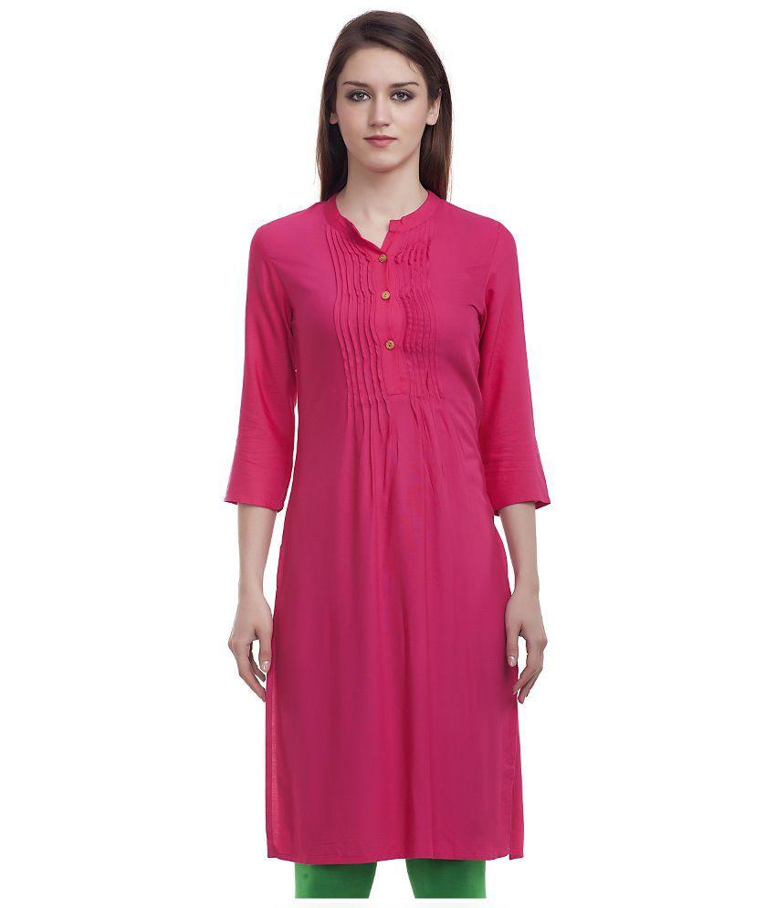 Surbhi Fashions Pink Rayon Straight Kurti