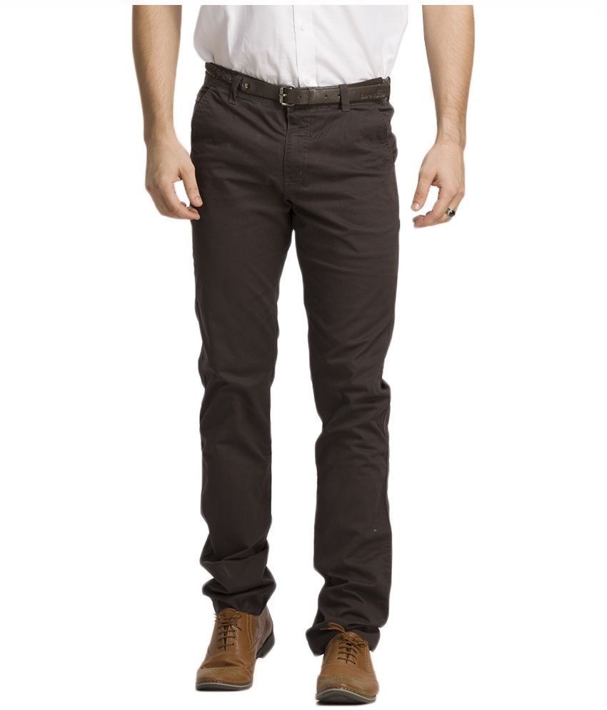 Beevee Grey Regular Fit Chinos With Belt