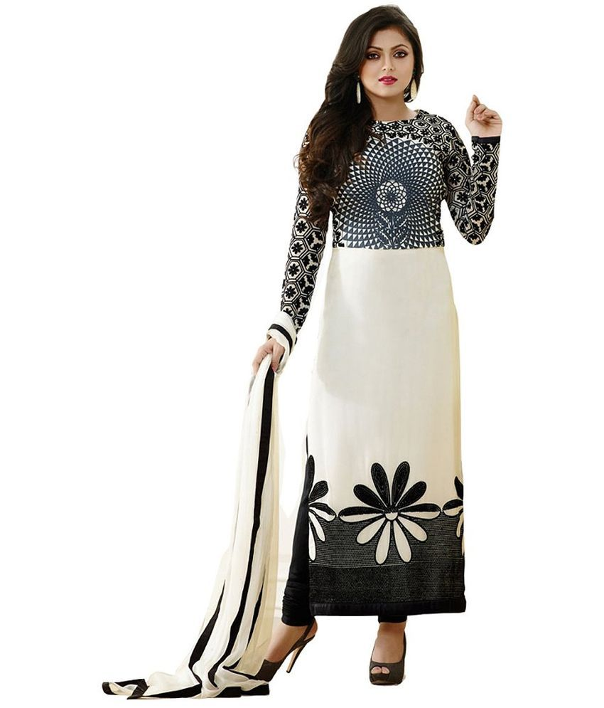 Jaysfab White Georgette Straight Semi Stitched Dress Material