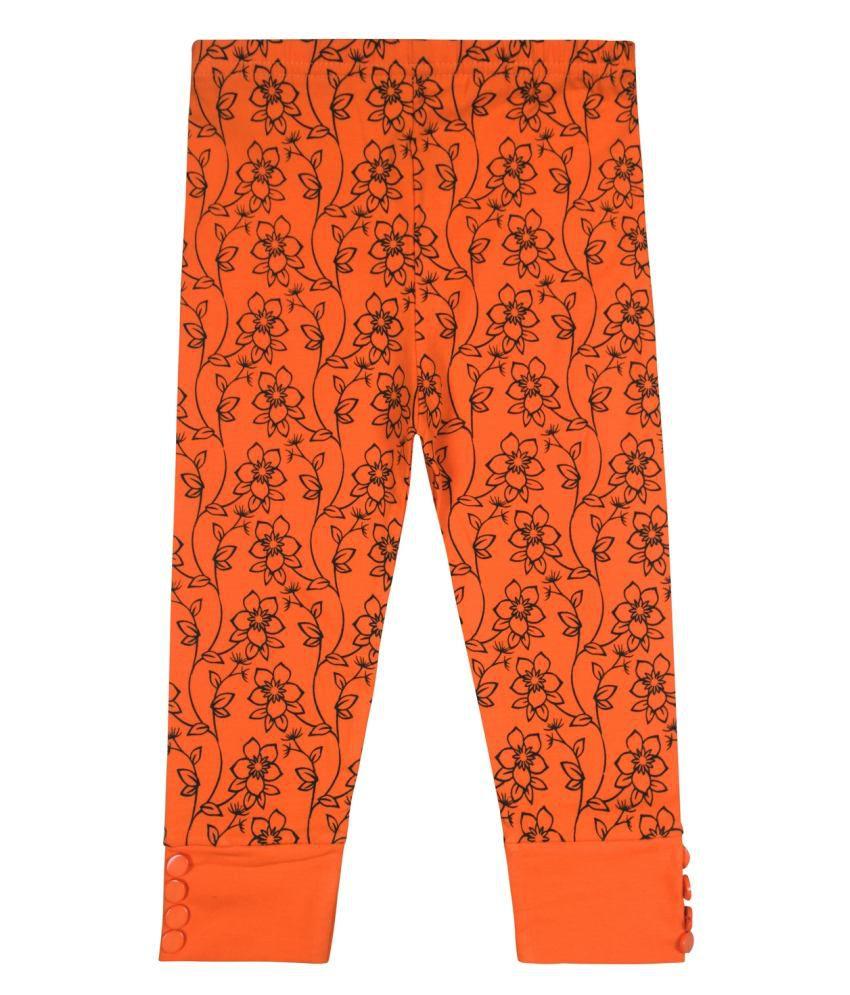 Jazzup Orange Cotton Blend Capris
