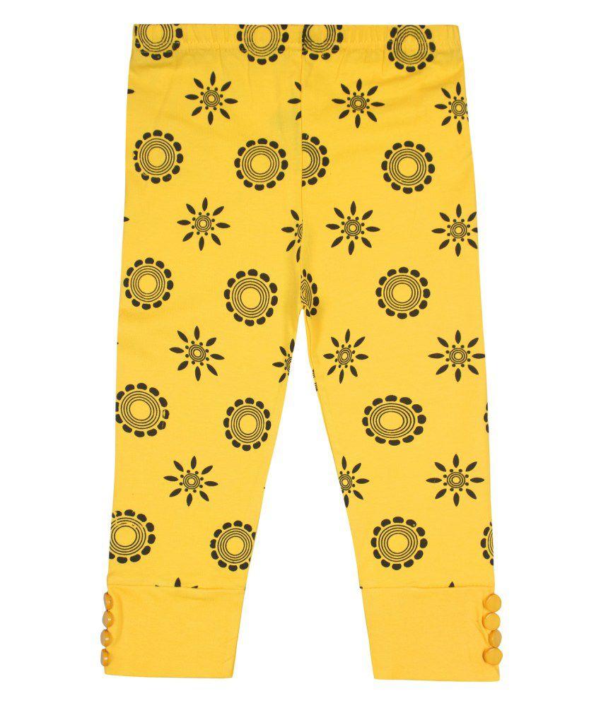 Jazzup Yellow Cotton Blend Capris