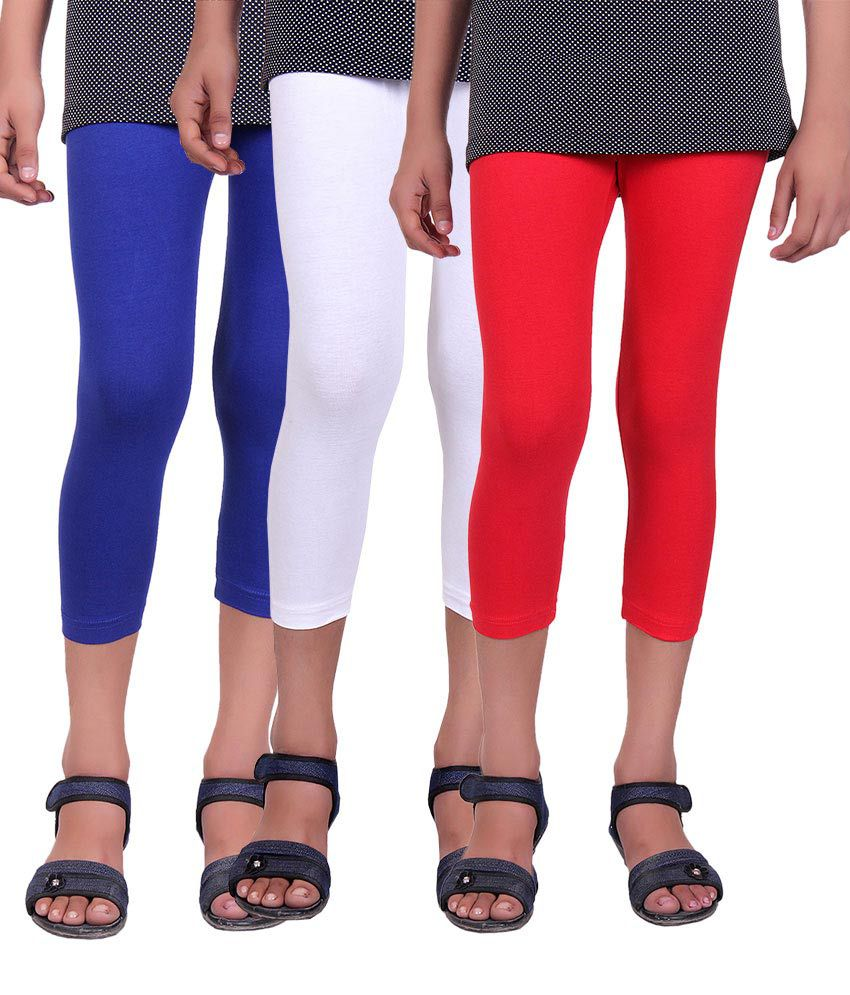 Alisha Multicolor Cotton Lycra Capri - Pack of 3