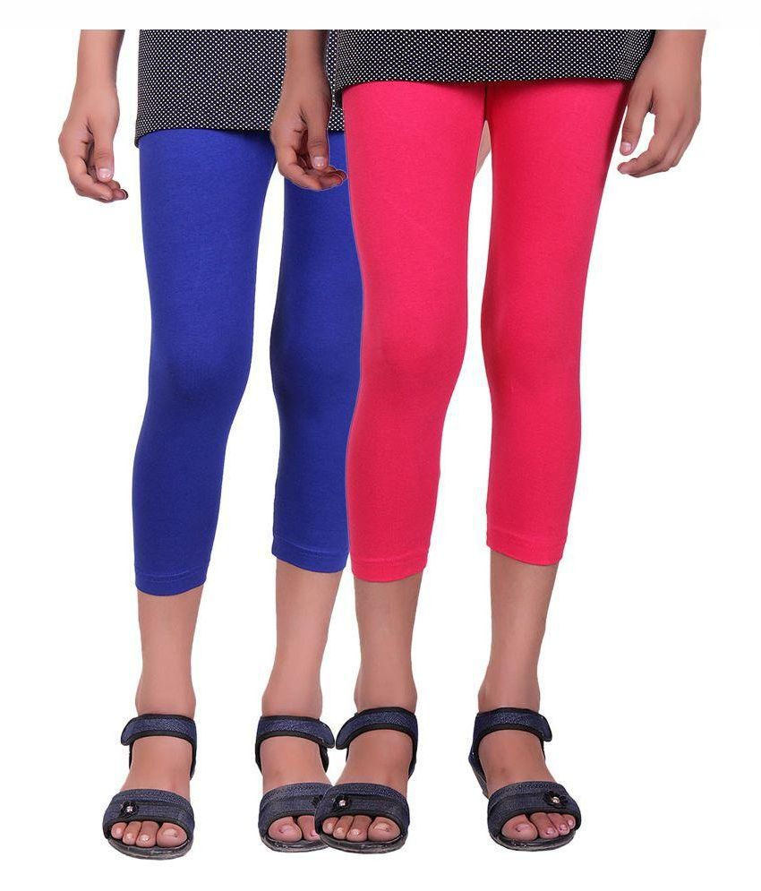 Alisha Multicolour Cotton Capri for Kids - Pack of 2