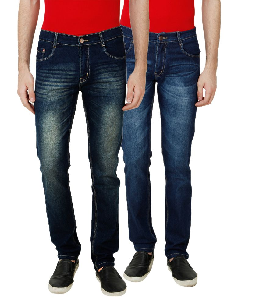 Ansh Fashion Wear Blue Regular Fit Faded Jeans Pack of 2